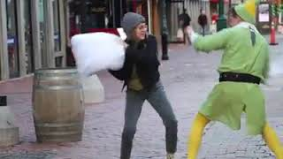 Firefighter dressed as Buddy the Elf challenges strangers to pillow fights in Boston
