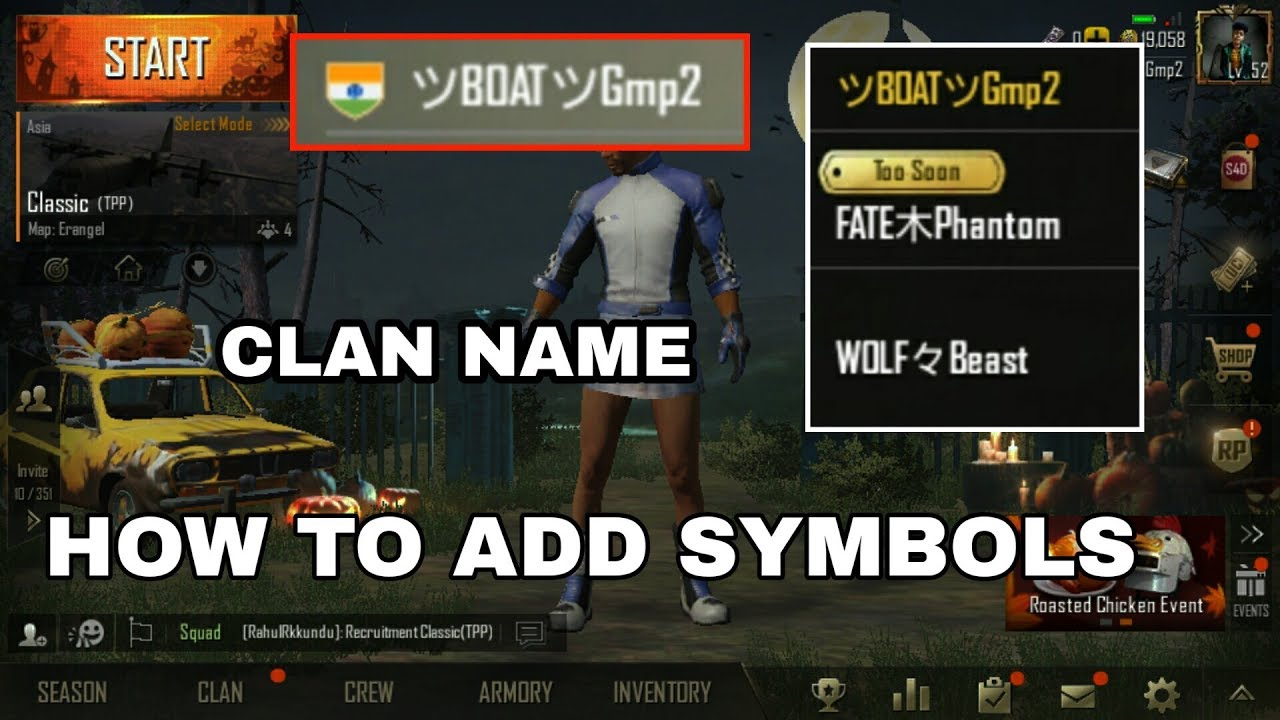 How To Add Symbols In Pubg Name Add Stylish Clan Crew Name In Pubg
