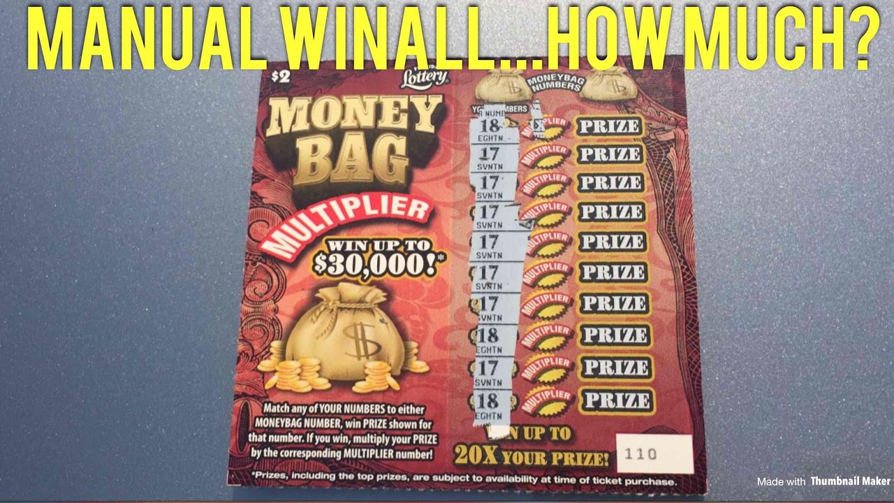 WinAll 10 Prizes!!!! Florida Lottery: $2 Money Bag Multiplier Manual WinAll