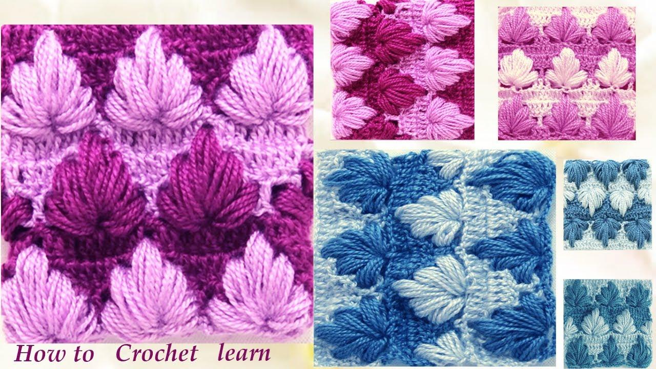 Como tejer con gancho crochet punto de hojas gorditas de - Puntos para tejer ...