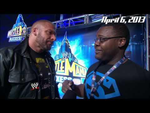 """""""Shocked Undertaker Guy"""" Ellis Mbeh meets his hero, Triple H"""