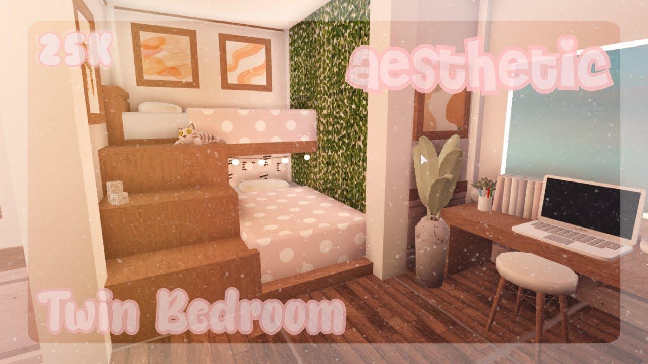 Aesthetic Twin Kids Bedroom Speed Build Welcome To Bloxburg Youtube