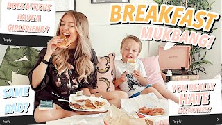 HE HAS A GIRLFRIEND? Breakfast In Bed MUKBANG With My Little Brother!