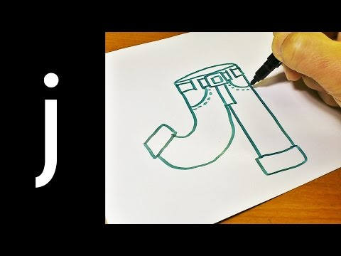 How to Draw Doodle Using Letters 'J j' for kids ! Cute & Easy doodle drawing cartoon