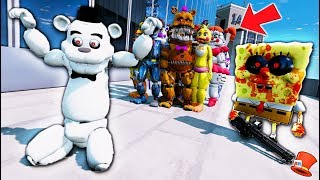 WILL WHITE FREDDY SAVE ALL THE ANIMATRONICS FROM SPONGEBOB.EXE? (GTA 5 Mods FNAF Kids RedHatter)