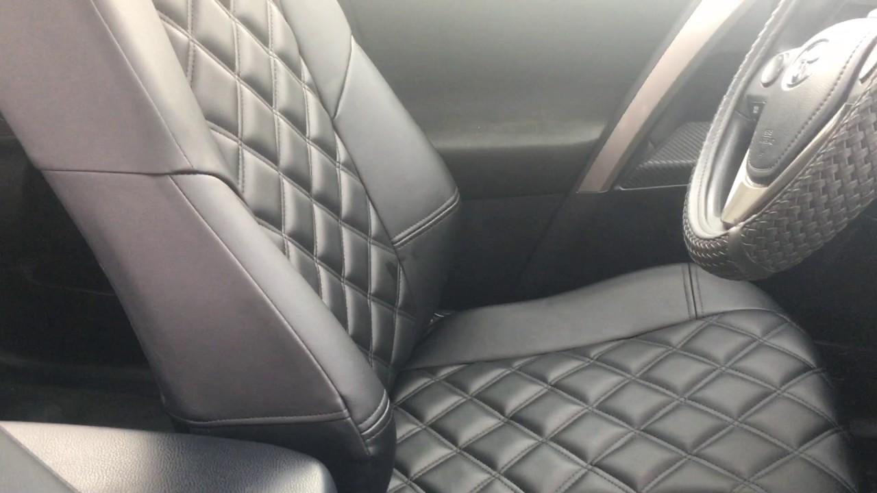 Авточехлы Люкс на Toyota Rav 4 (простёжка ромбом) - YouTube