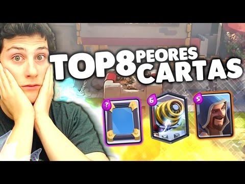 ¡¡ TOP 8 PEORES CARTAS De CLASH ROYALE Y.. ¡¿GANO CON ELLAS?! [WithZack]