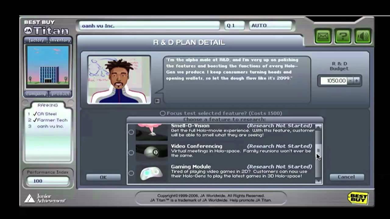 JA Titan Business Simulation - Ms  Zurawski's Classes