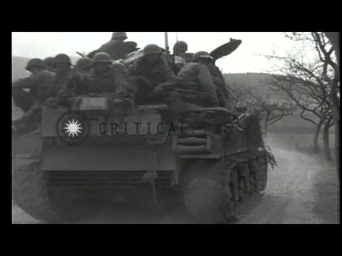 US Army 7th armored division in action near Westenfeld Germany, and German civili...HD Stock Footage
