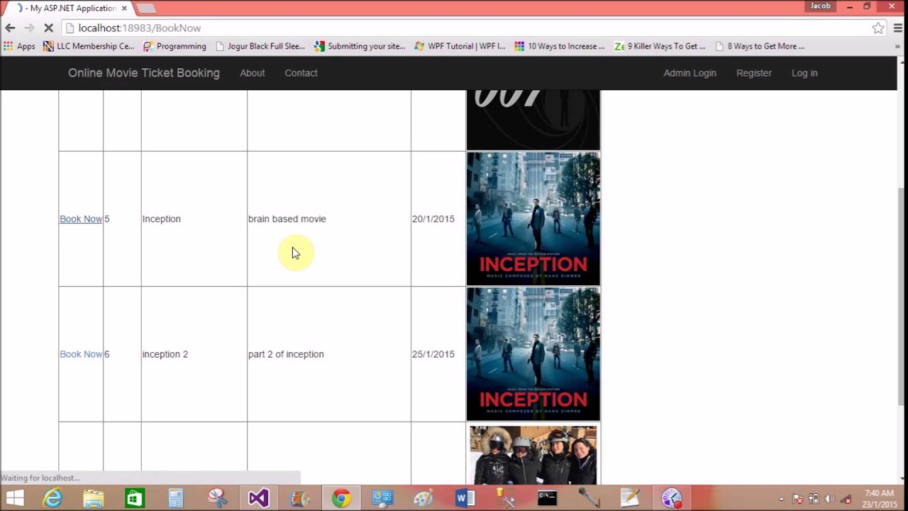 Online movie ticket booking system project in asp net
