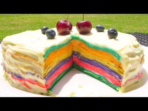 Rainbow Crepe Cake 💕 How To Make Rainbow Pancakes 💕 Easy Recipes To Do With Kids