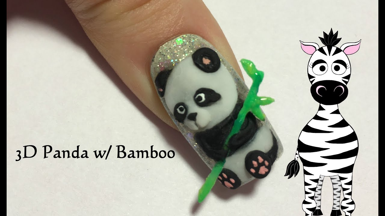 3d Panda Bear With Bamboo Acrylic Nail Art Design Tutotial Youtube