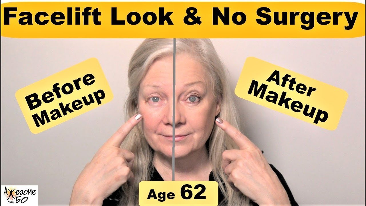 the look of a facelift with makeup, women's hooded eyes, brows, jowls,  mature over 50