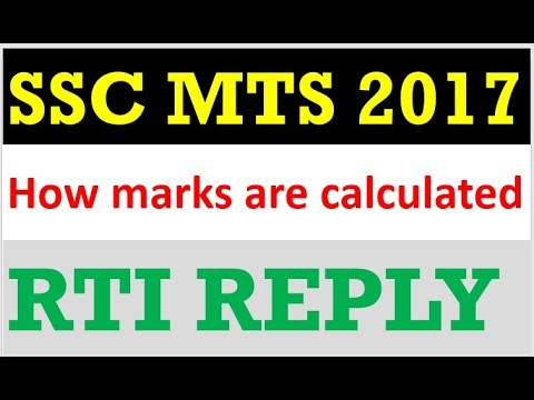 How Marks are calculated in SSC MTS TIER-1 RTI REPLY