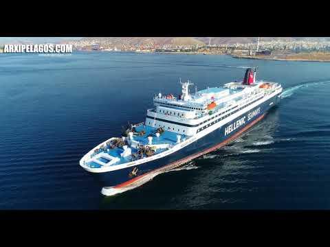 NISSOS RODOS  -  Departure from  Port of Piraeus (Greece)  AERIAL DRONE VIDEO 4K