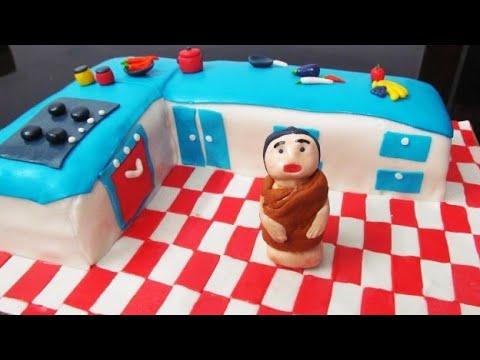 Kitchen Cake 60th Birthday Mom Mother S Birthday Cake Kitchen Shaped Cake Kitchen Themed Cake Fonda Youtube