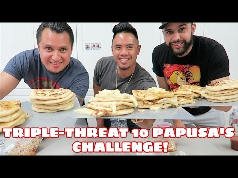 TRIPLE THREAT 10 PUPUSAS CHALLENGE | EPIC CHEAT MEAL | SALVADORIAN CUISINE