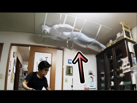 Japanese man pranks grandmother by tying himself to the ceiling