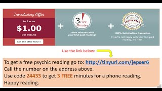 Free psychic reading by phone - 3 minutes free for first time callers