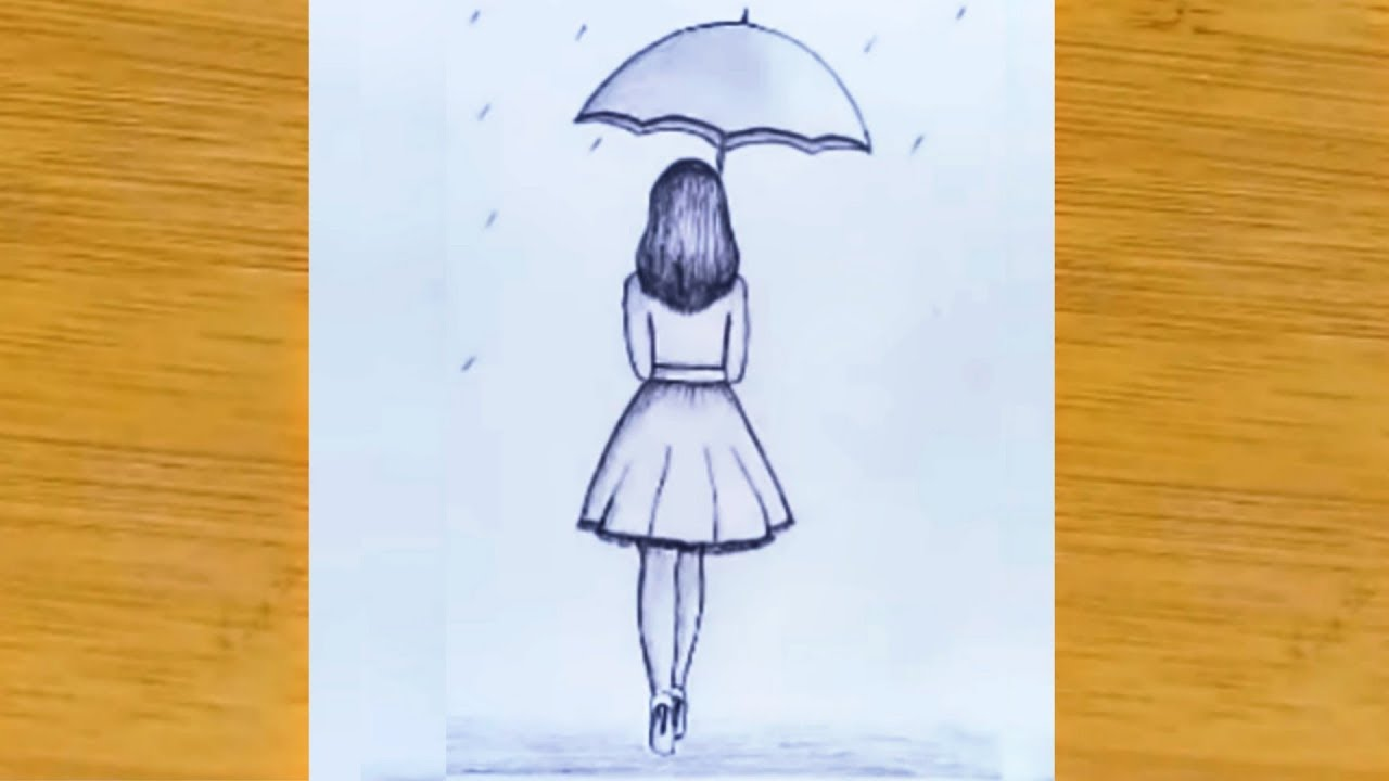 How to draw a girl with umbrella pencil sketch step by ...