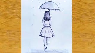 umbrella step drawing draw pencil sketch easy very
