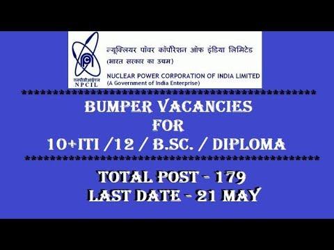 NPCIL Diploma & ITI Recruitment 2018 | Apply Online | 179 Job Vacancies | Last Date 21 May 2018