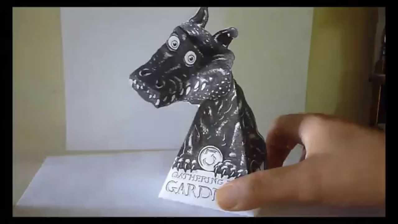 tutorial como hacer ilusion ptica dragon 3d de papel