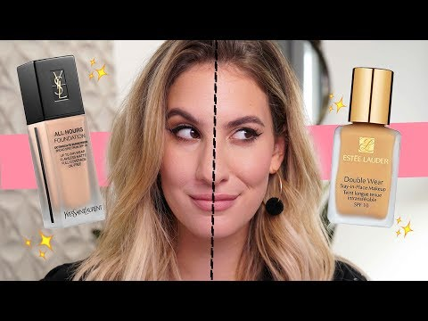 HYPED-UP FOUNDATION FACE OFF: YSL All Hours VS Estee Lauder Double Wear | Jamie Paige