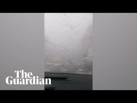 Giant Hailstones Smash Car Windscreen In France