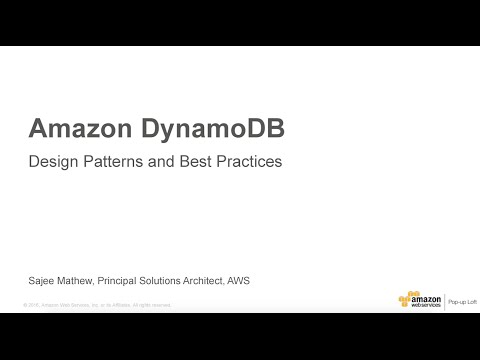 Amazon DynamoDB April 2016 Day at the NY Loft - DynamoDB Design Patterns and Best Practices