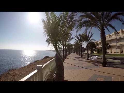 Испания, Набережная Torre de la Horadada, море, пальмы, пляж Puerto, 1 января 2016