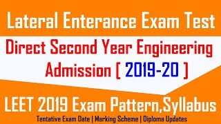 LEET Exam 2019 After Diploma for D.S.Y Engineering Admission | LEET Exam Date, Syllabus,Preparation