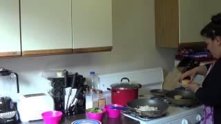 Sun Dried Tomato Polenta Cakes Pt.1-portobello Asparagus Veggie Medley & Basil Blue Cheese