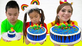 Emma and Lyndon Baking Birthday Cake Food Challenge  Kids Try to Bake Real Cakes