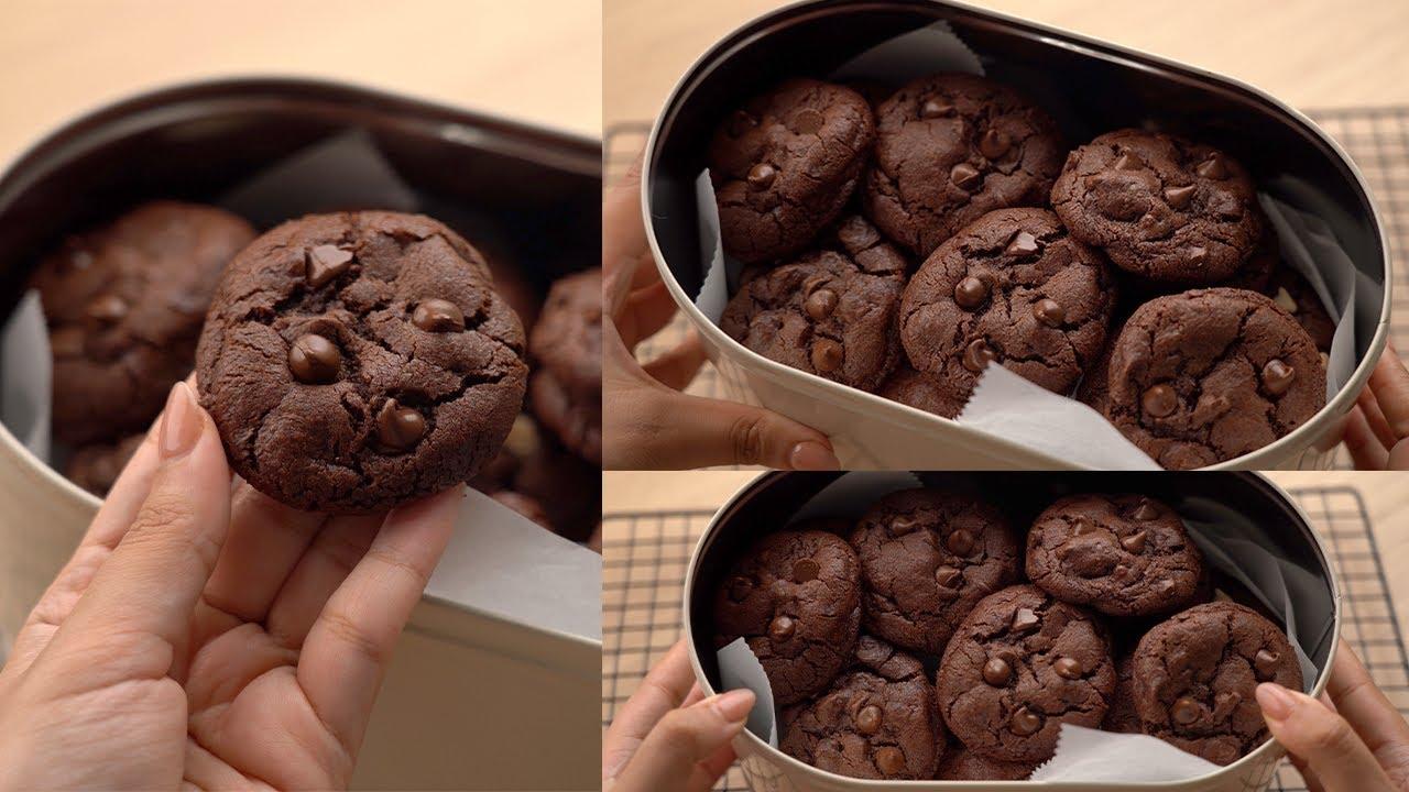 كوكيز كلها شوكولاتة 🍫🍪 أحلى حاجة جنب القهوة (دبل تشوكلت شيب كوكيز)