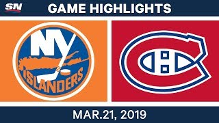 NHL Game Highlights | Islanders vs. Canadiens - March 21, 2019