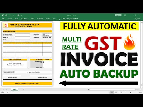 How To Create Fully Automatic Multi Rate GST invoice in excel Hindi    Auto Save Invoice Entries