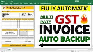 How To Create Fully Automatic Multi Rate GST invoice in excel Hindi || Auto Save Invoice Entries