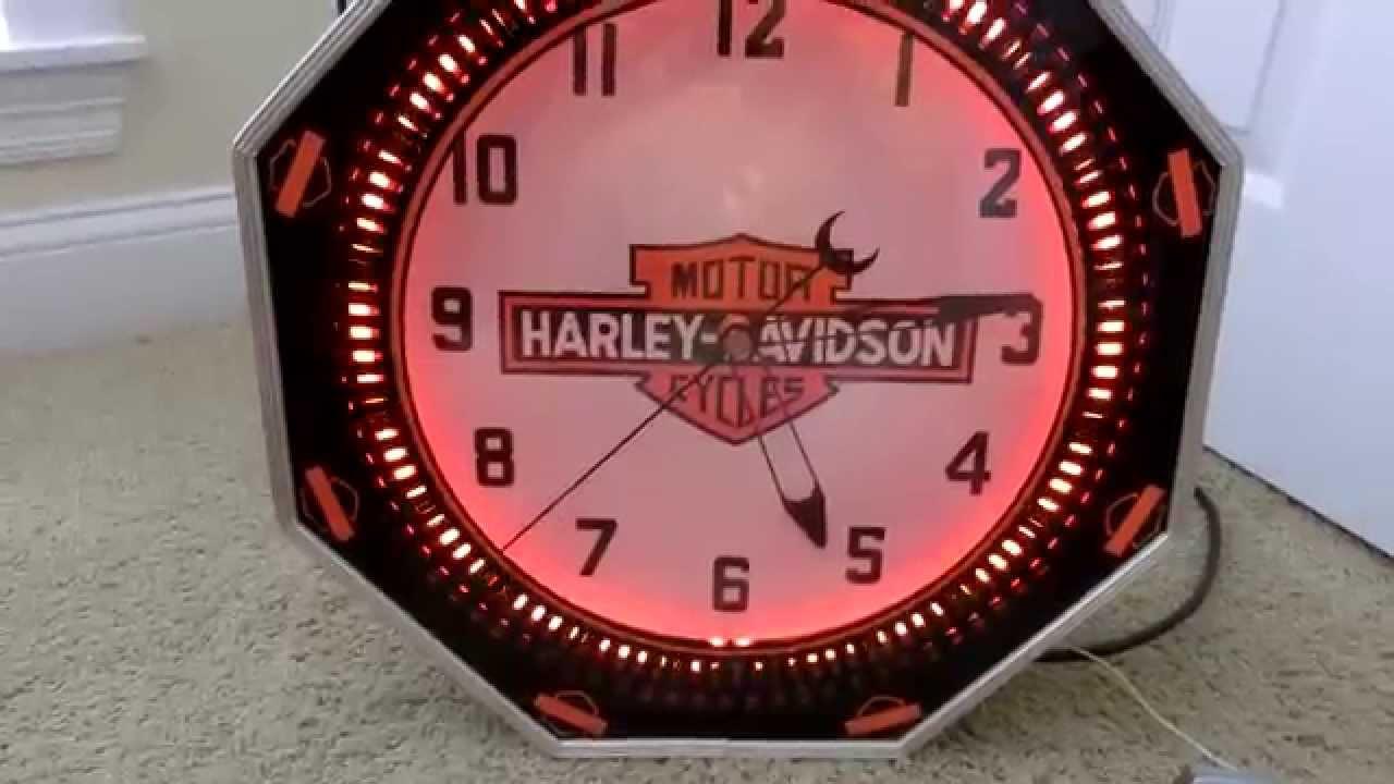 Harley Davidson Neon Spinner Clock Youtube