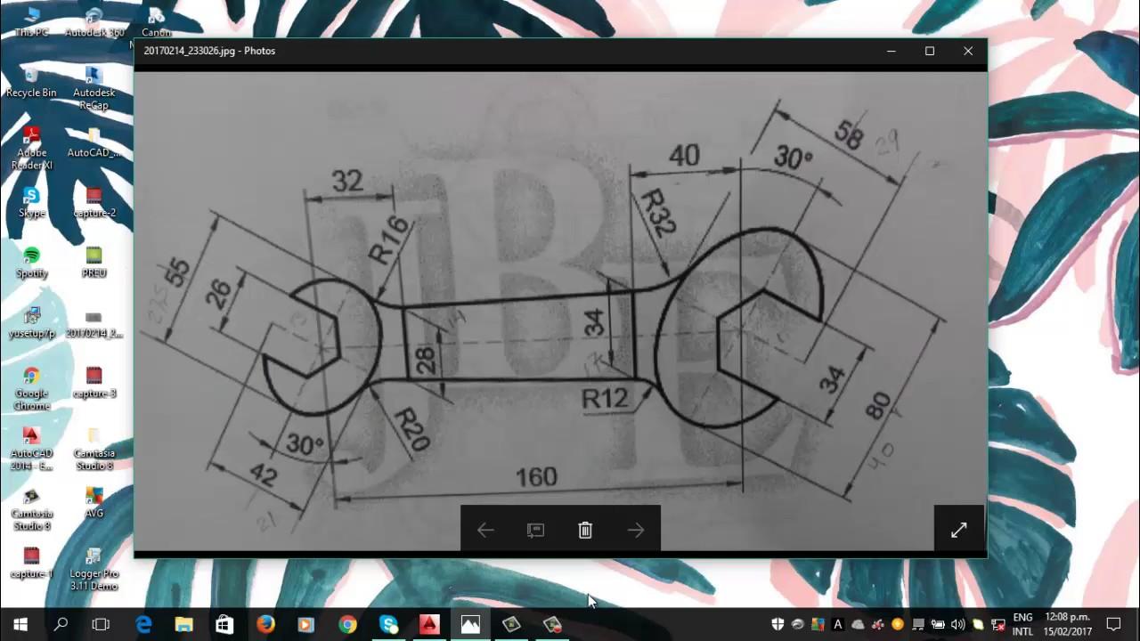 Tutorial Llave fija en AutoCAD Dibujo Industrial - YouTube