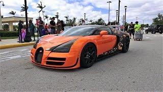 Bugatti Veyron Lamborghini Aventador SV McLaren P1 drive by at Halloween Cars & Coffee Palm Beach