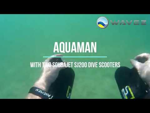 Aquaman with two Scubajet SJ200 Dive Scooters