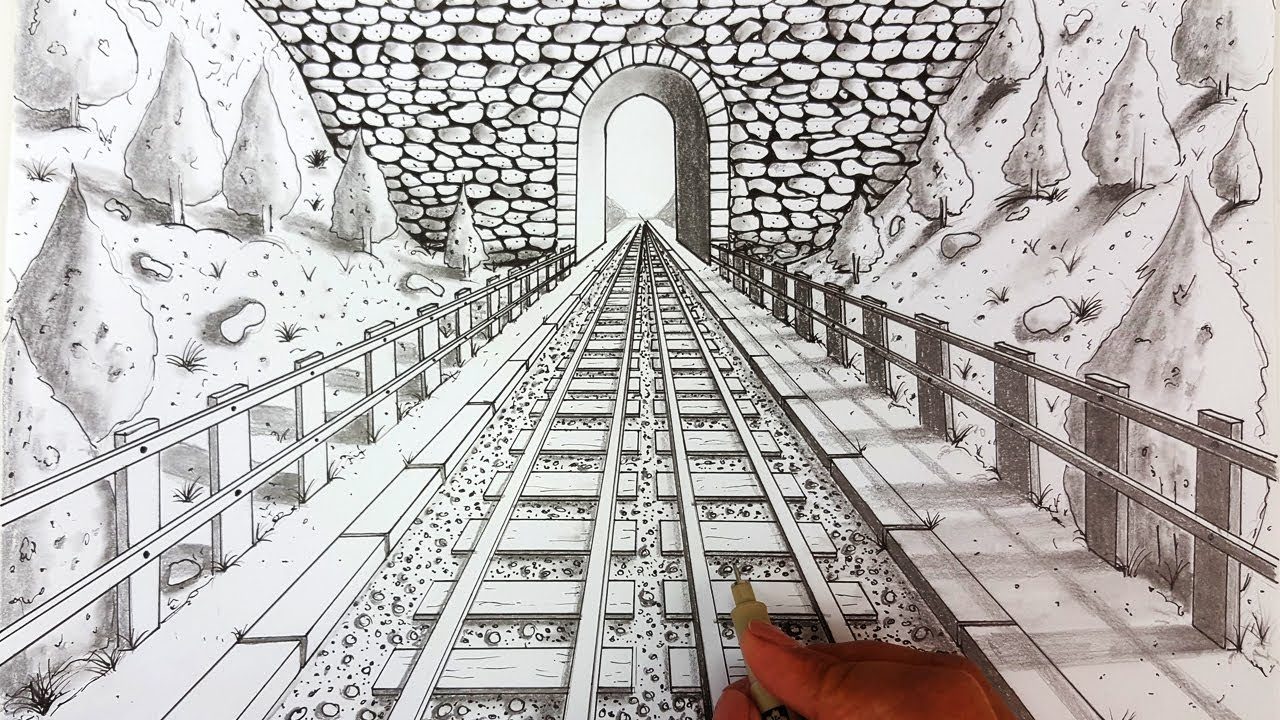 Drawing in one point perspective | Railway | Timelapse ...