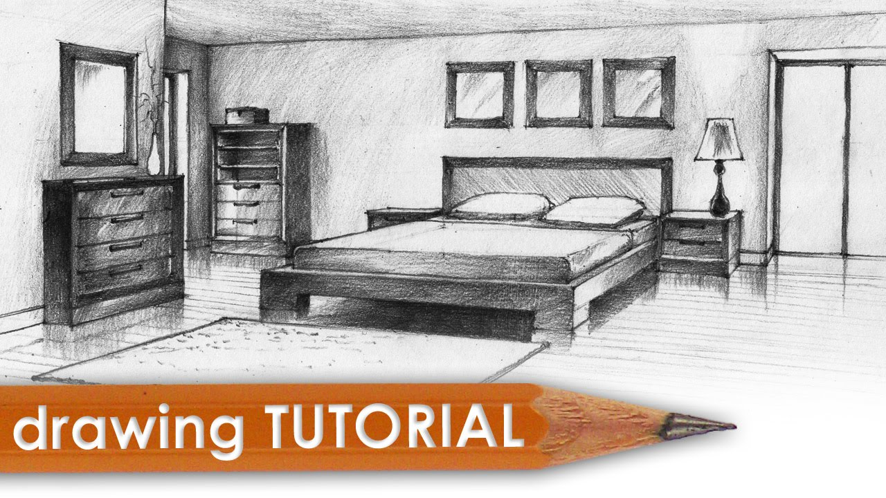 Drawing tutorial - room in two point perspective (bedroom) - YouTube