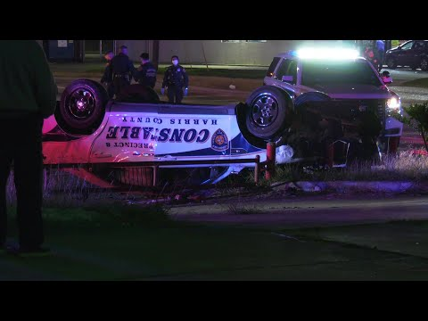 Constable Cruiser Flips Upside Down in Pursuit Crash in Houston