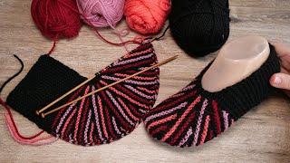 Следки клиньями на двух спицах 🎨 Slippers with wedges knitting pattern