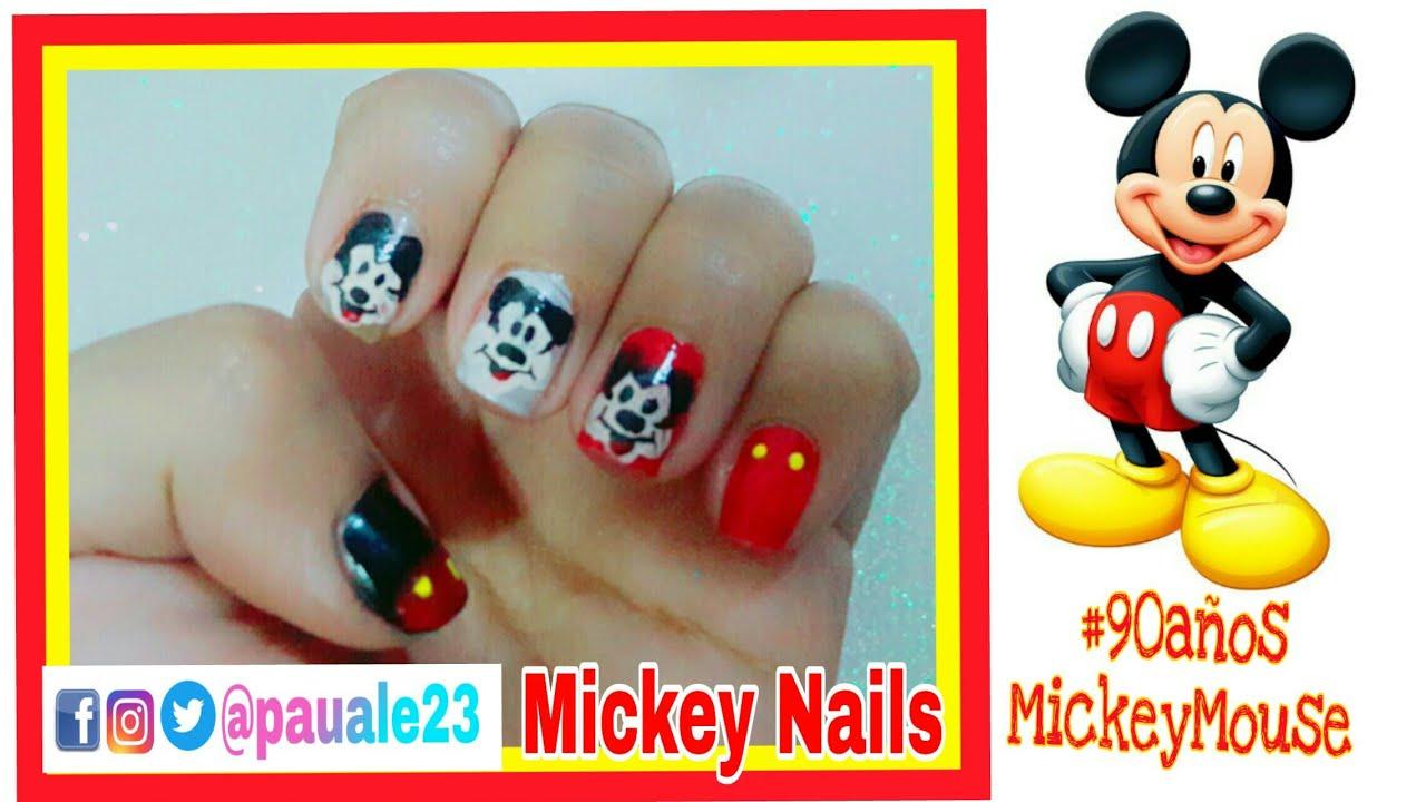 Uñas Decoradas Mickey Mouse Mickey Nails 90añosmickeymouse Youtube