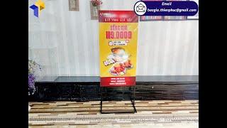 Thiết kế khung sắt standy hai mặt quảng cáo thức ăn