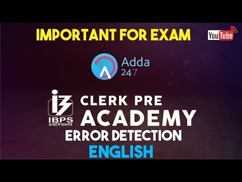 IBPS CLERK PRE | Error Detection | English |  Online Coaching for SBI IBPS Bank PO