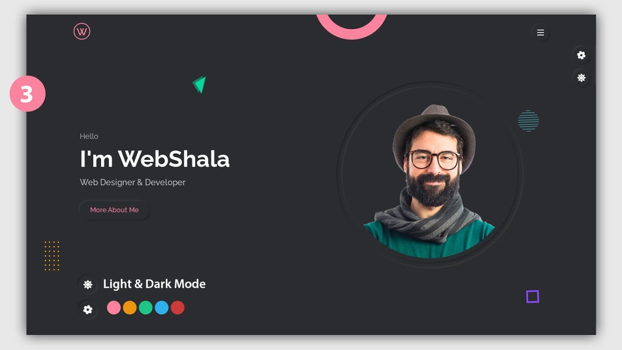 #3 Personal Portfolio Complete Website using only Html Css Javascript | Step by Step